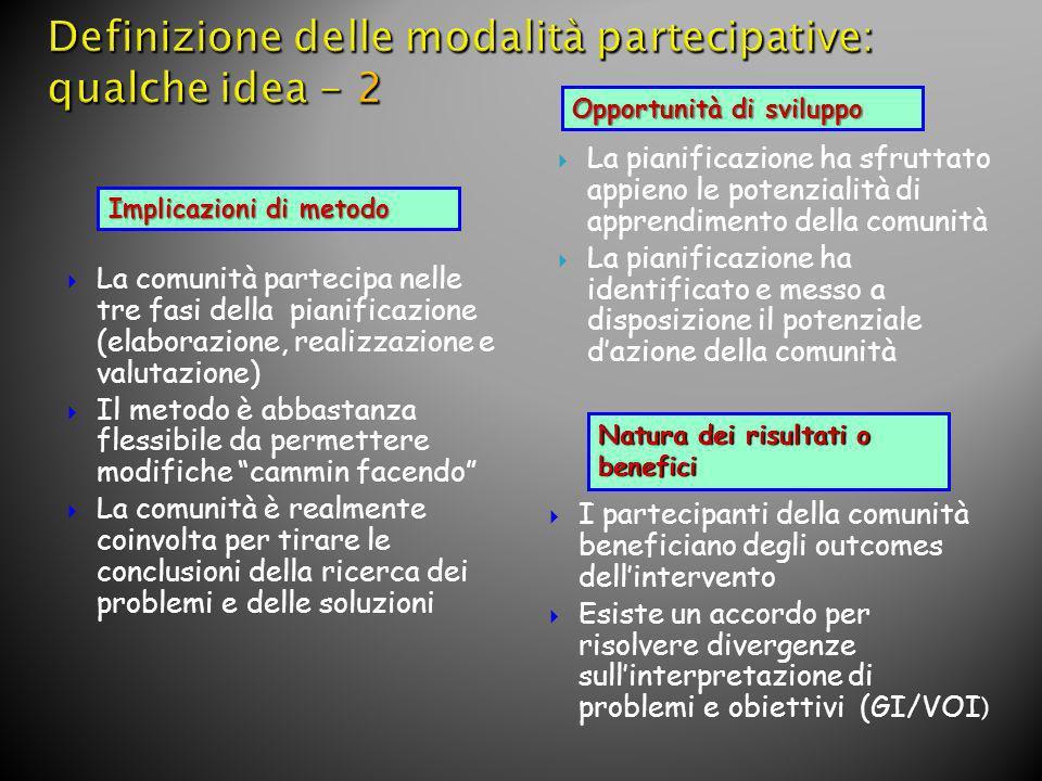 Definizione delle modalità partecipative: qualche idea - 2
