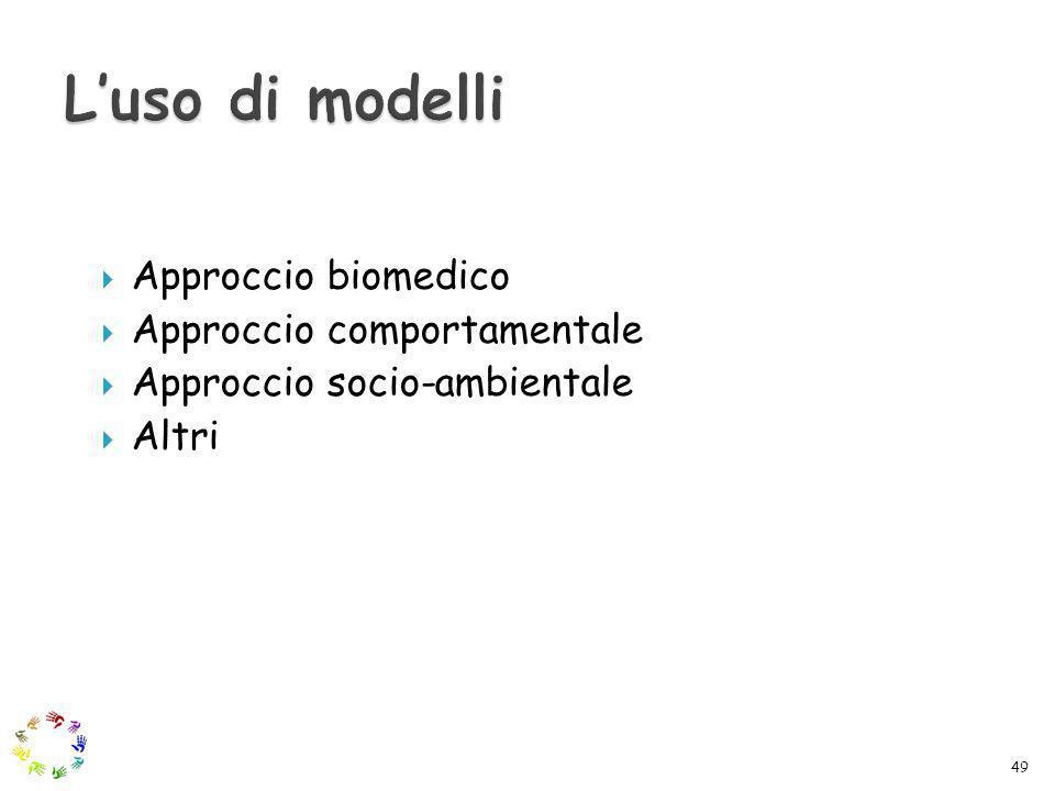 L'uso di modelli Approccio biomedico Approccio comportamentale