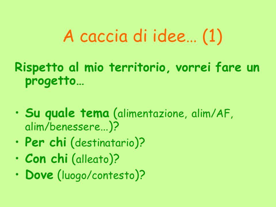 A caccia di idee… (1) Rispetto al mio territorio, vorrei fare un progetto… Su quale tema (alimentazione, alim/AF, alim/benessere…)