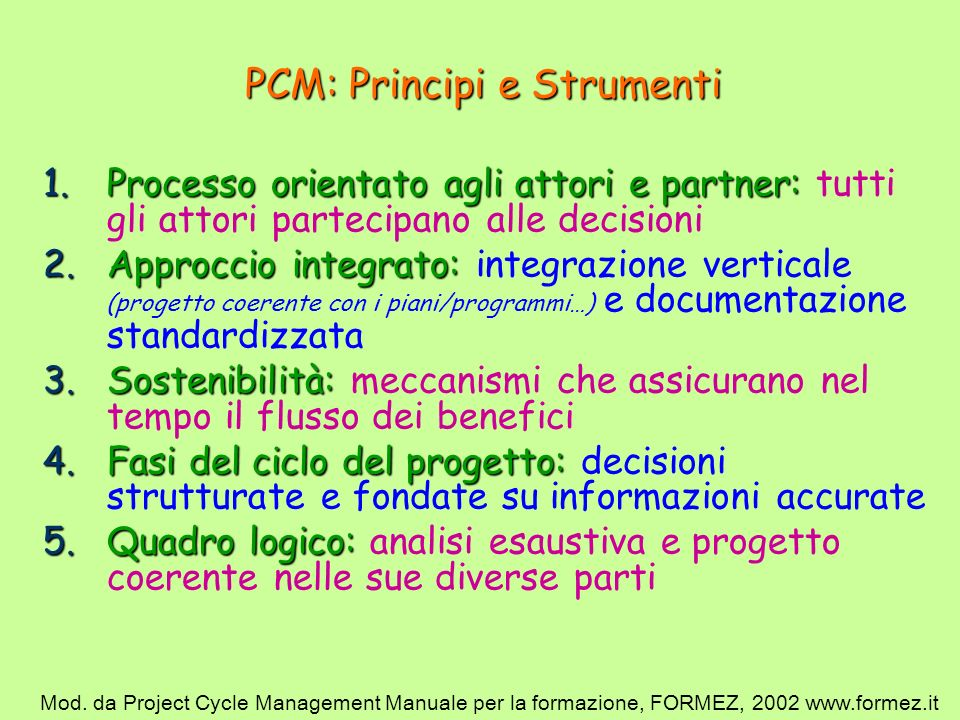 PCM: Principi e Strumenti