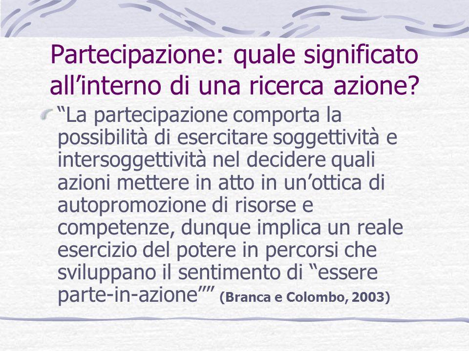 Partecipazione: quale significato all'interno di una ricerca azione