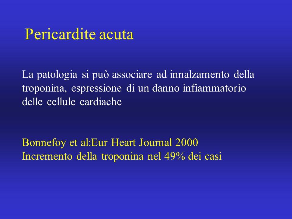 Pericardite acutaLa patologia si può associare ad innalzamento della troponina, espressione di un danno infiammatorio delle cellule cardiache.