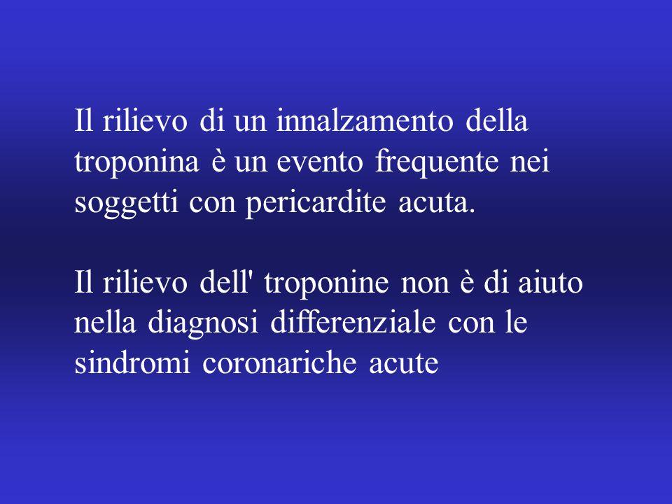 Il rilievo di un innalzamento della troponina è un evento frequente nei soggetti con pericardite acuta.