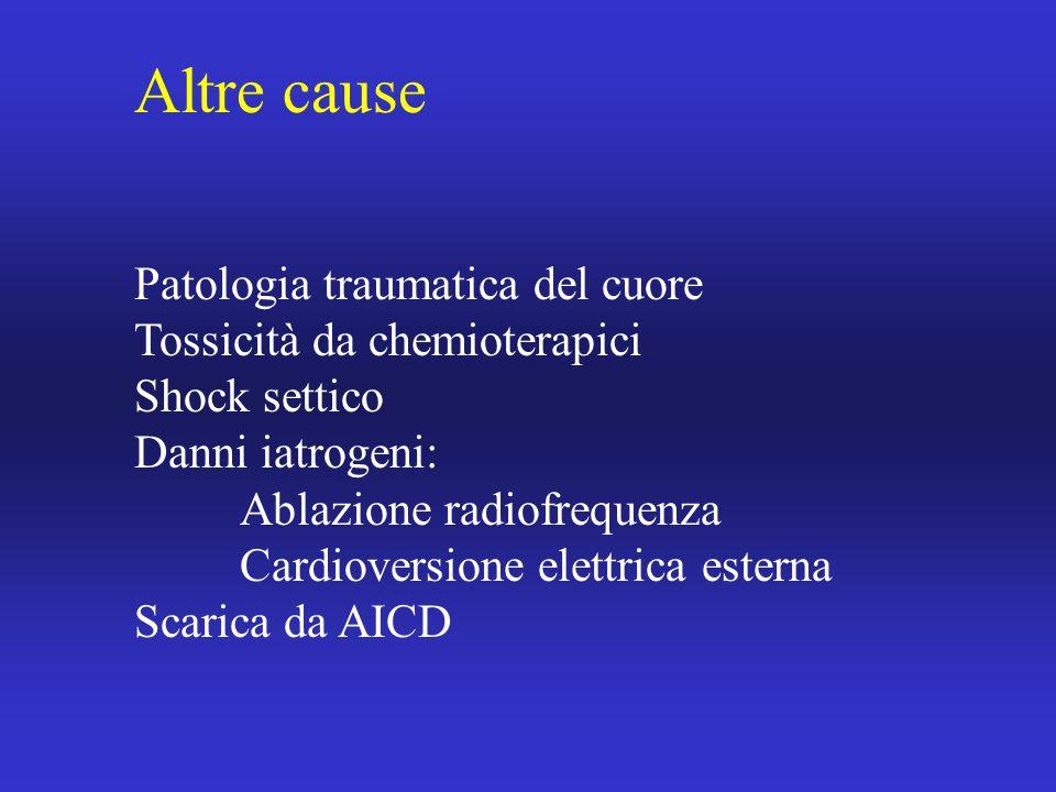 Altre cause Patologia traumatica del cuore Tossicità da chemioterapici
