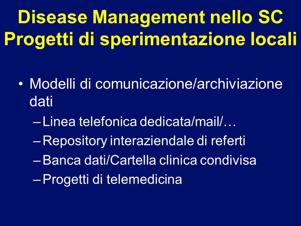 Disease Management nello SC Progetti di sperimentazione locali