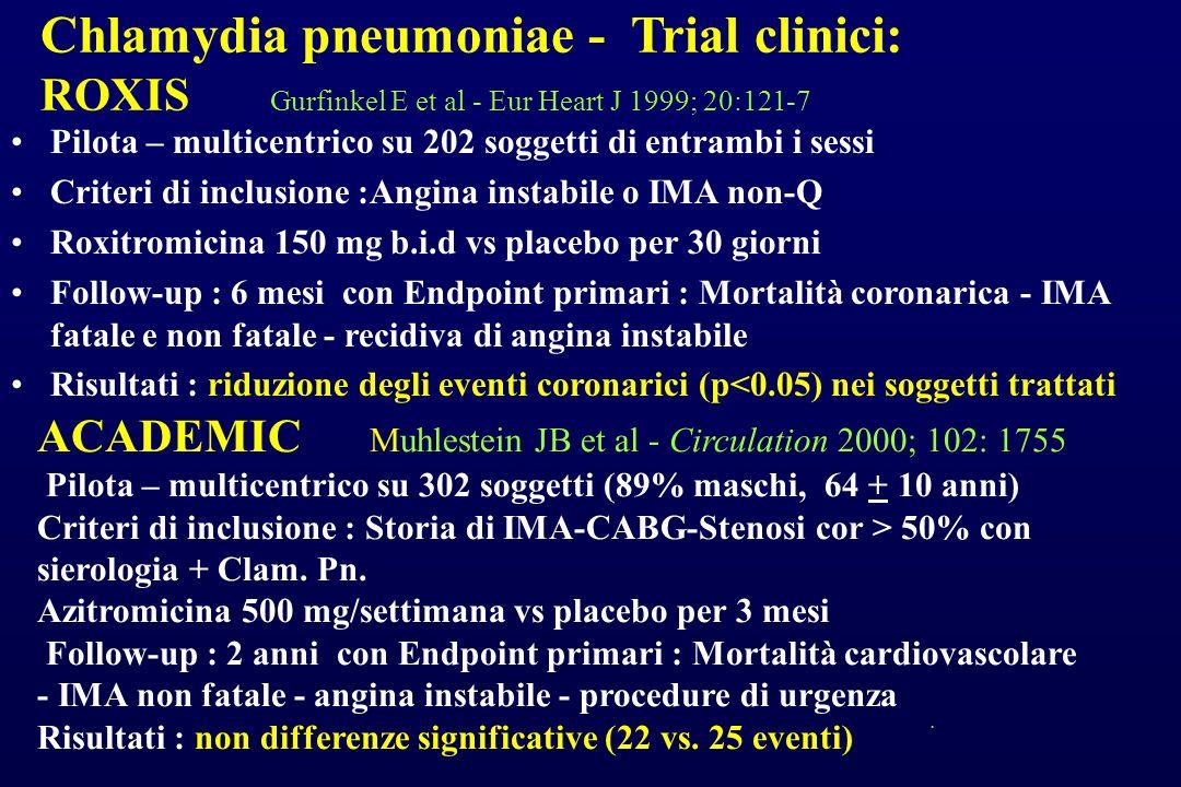 Chlamydia pneumoniae - Trial clinici: ROXIS Gurfinkel E et al - Eur Heart J 1999; 20:121-7