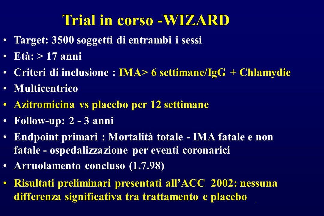Trial in corso -WIZARD Target: 3500 soggetti di entrambi i sessi