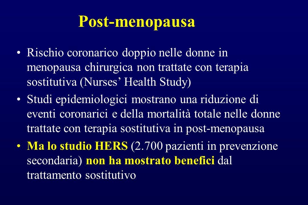 Post-menopausa Rischio coronarico doppio nelle donne in menopausa chirurgica non trattate con terapia sostitutiva (Nurses' Health Study)