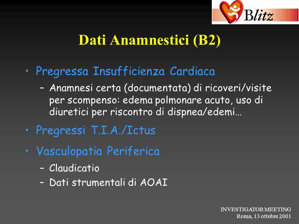 Dati Anamnestici (B2) Pregressa Insufficienza Cardiaca