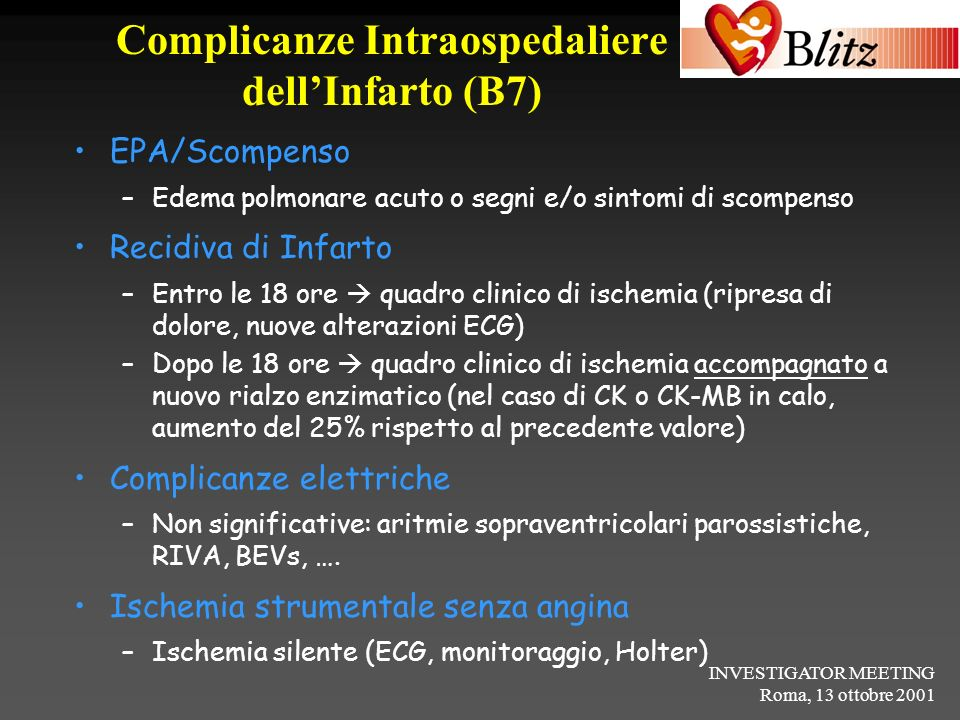 Complicanze Intraospedaliere dell'Infarto (B7)
