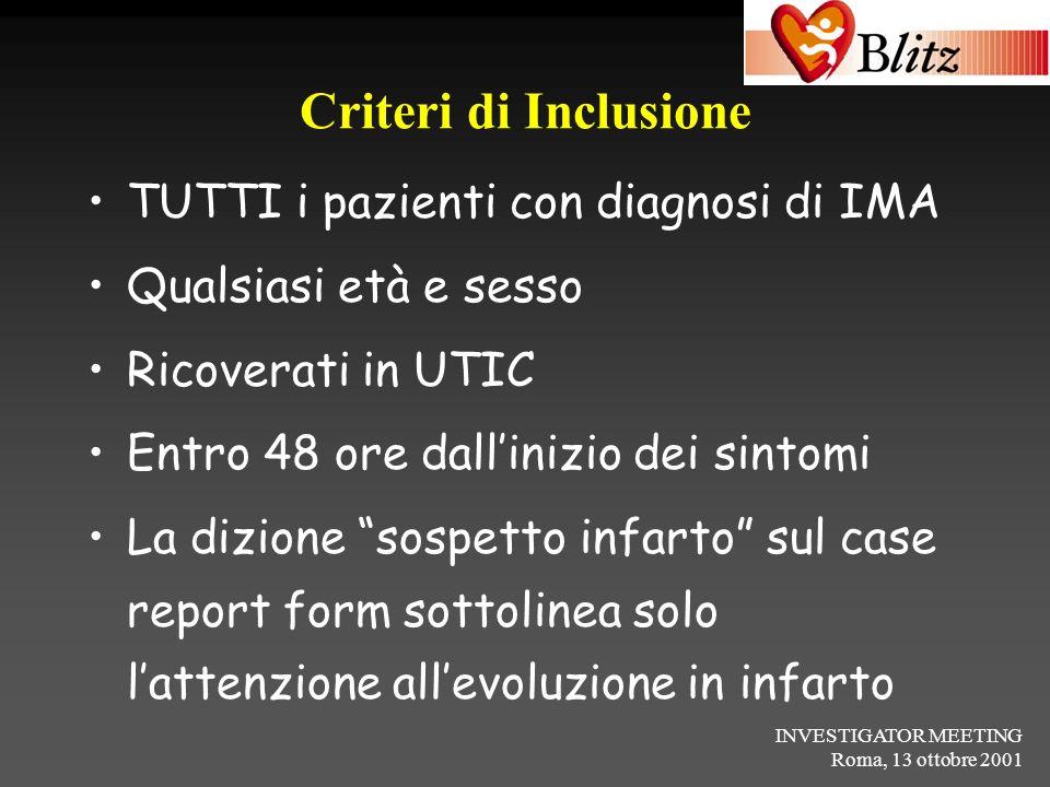 Criteri di Inclusione TUTTI i pazienti con diagnosi di IMA
