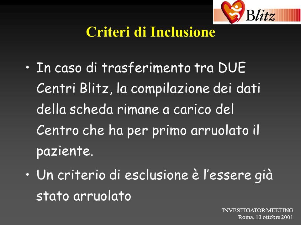 Criteri di Inclusione