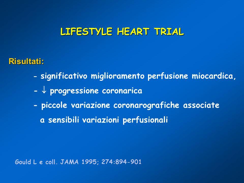 LIFESTYLE HEART TRIAL Risultati: -  progressione coronarica