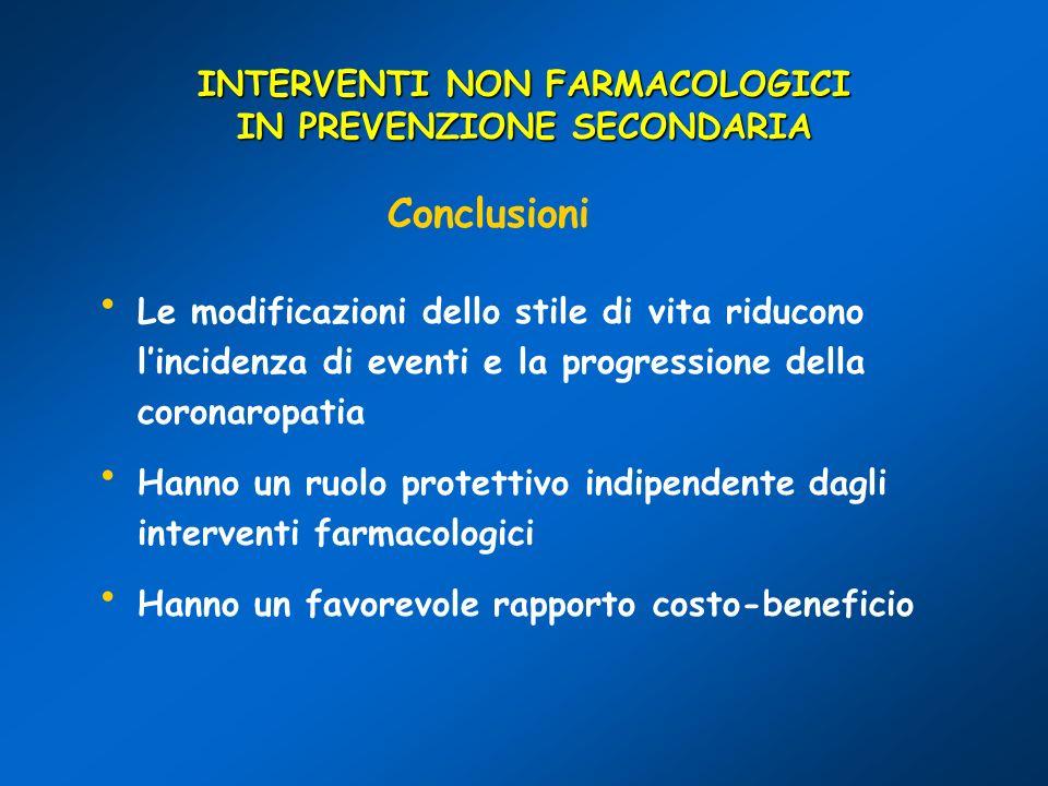 INTERVENTI NON FARMACOLOGICI IN PREVENZIONE SECONDARIA