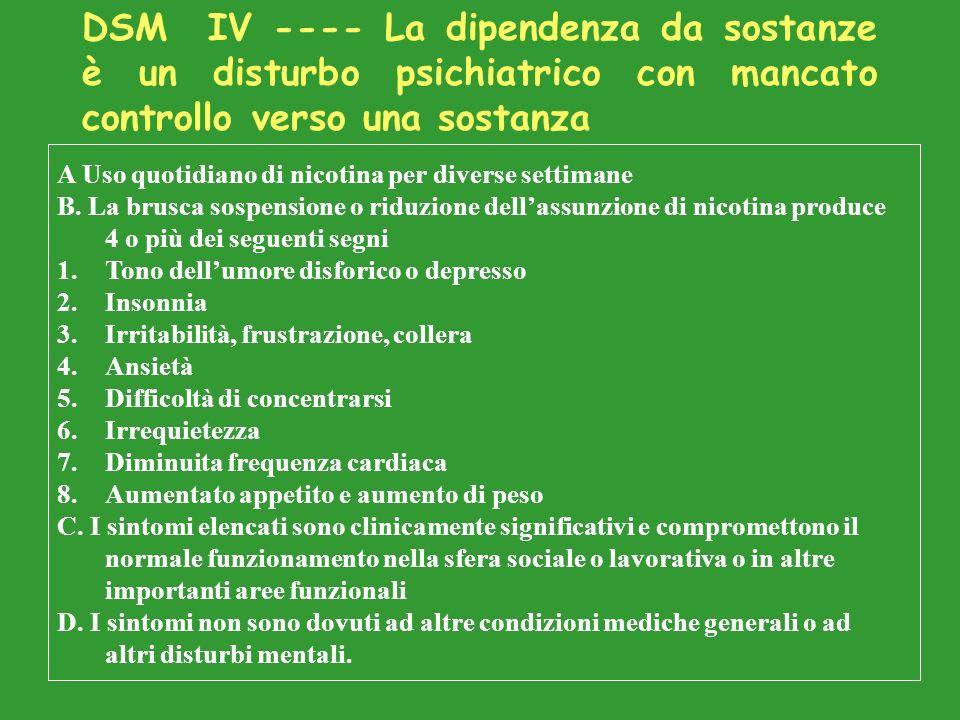 DSM IV ---- La dipendenza da sostanze è un disturbo psichiatrico con mancato controllo verso una sostanza