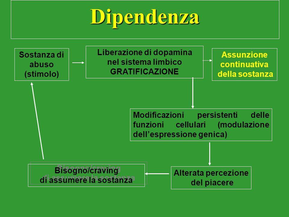 Dipendenza Liberazione di dopamina nel sistema limbico GRATIFICAZIONE