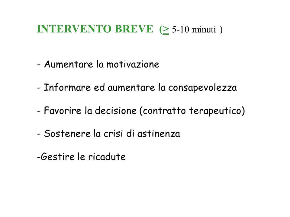 INTERVENTO BREVE (> 5-10 minuti )