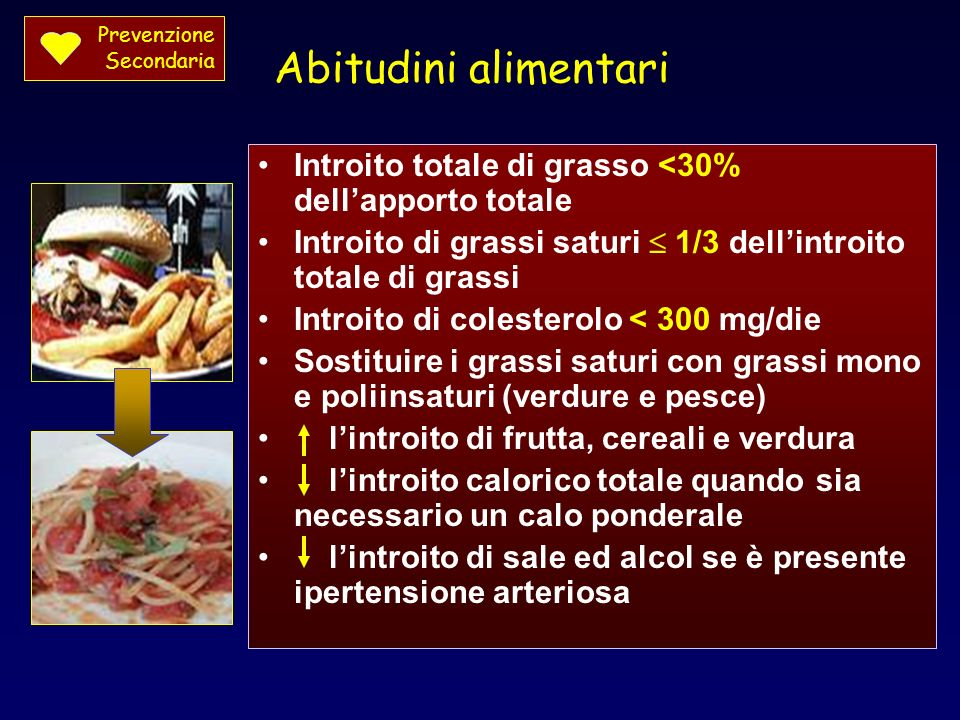 Prevenzione Secondaria. Abitudini alimentari. Introito totale di grasso <30% dell'apporto totale.