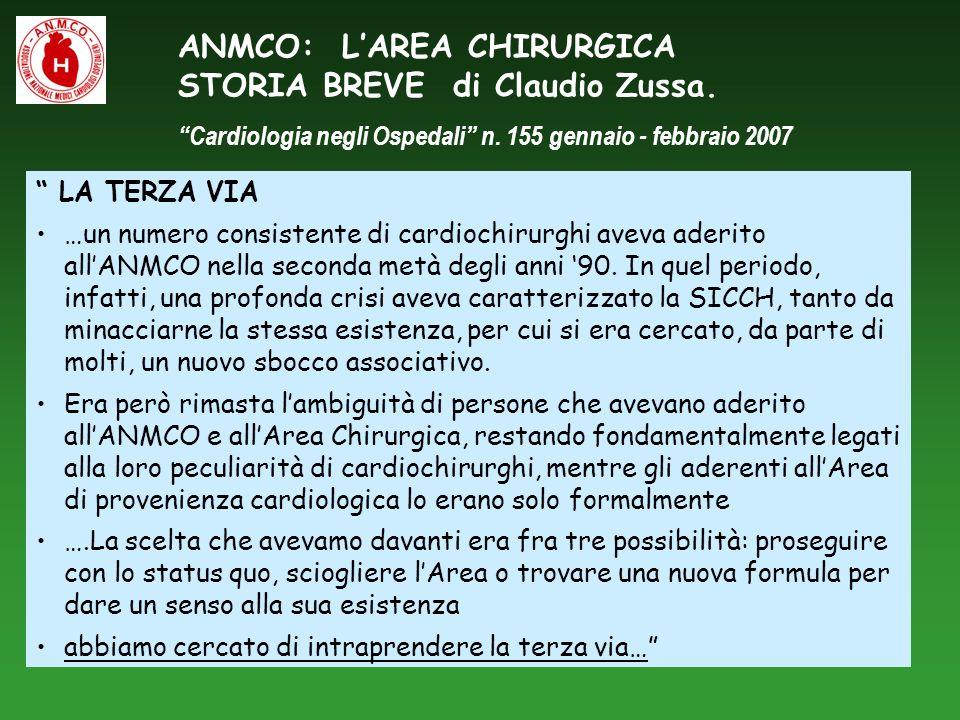 ANMCO: L'AREA CHIRURGICA STORIA BREVE di Claudio Zussa.