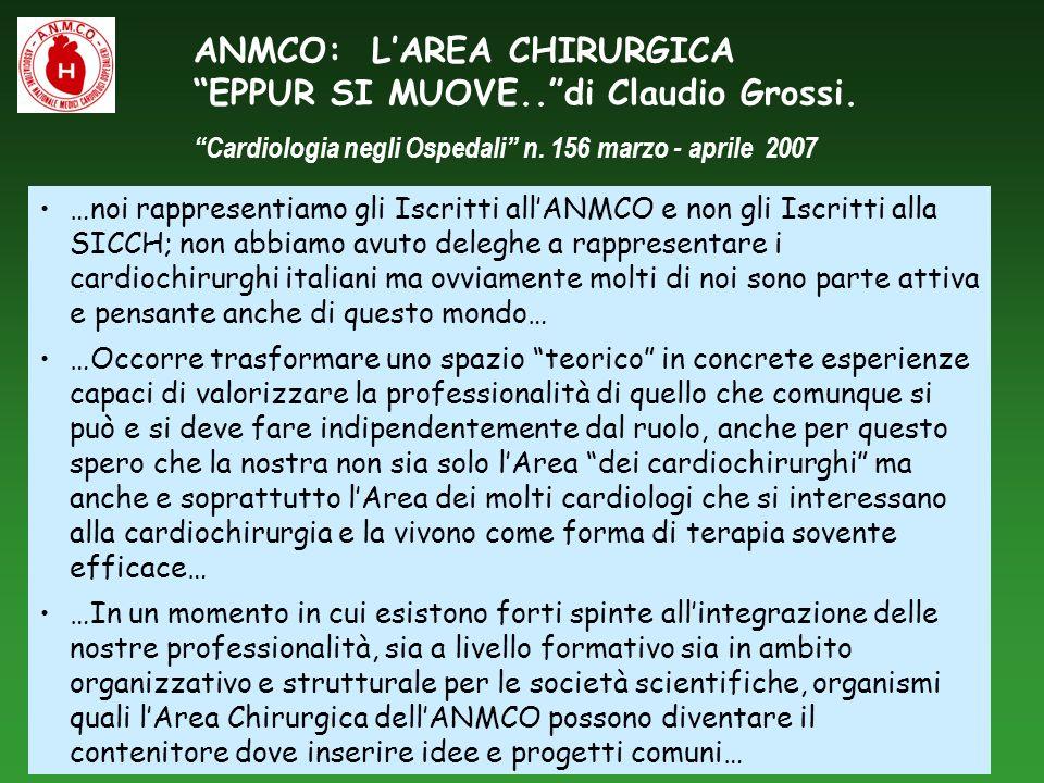 ANMCO: L'AREA CHIRURGICA EPPUR SI MUOVE.. di Claudio Grossi.