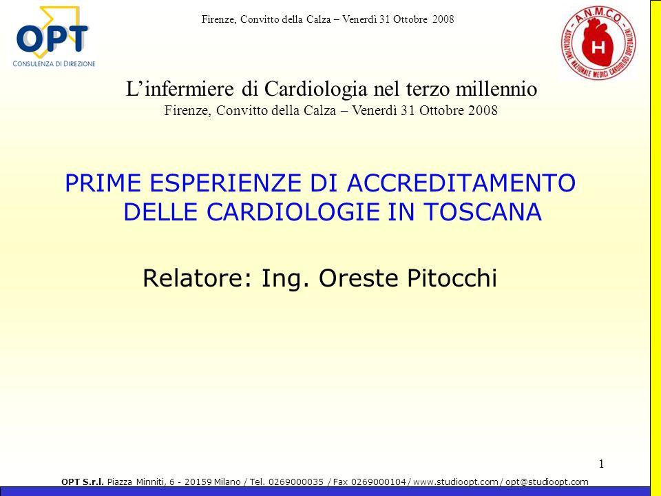 PRIME ESPERIENZE DI ACCREDITAMENTO DELLE CARDIOLOGIE IN TOSCANA