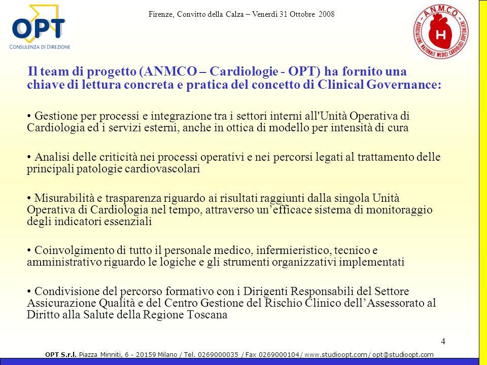 Il team di progetto (ANMCO – Cardiologie - OPT) ha fornito una chiave di lettura concreta e pratica del concetto di Clinical Governance: