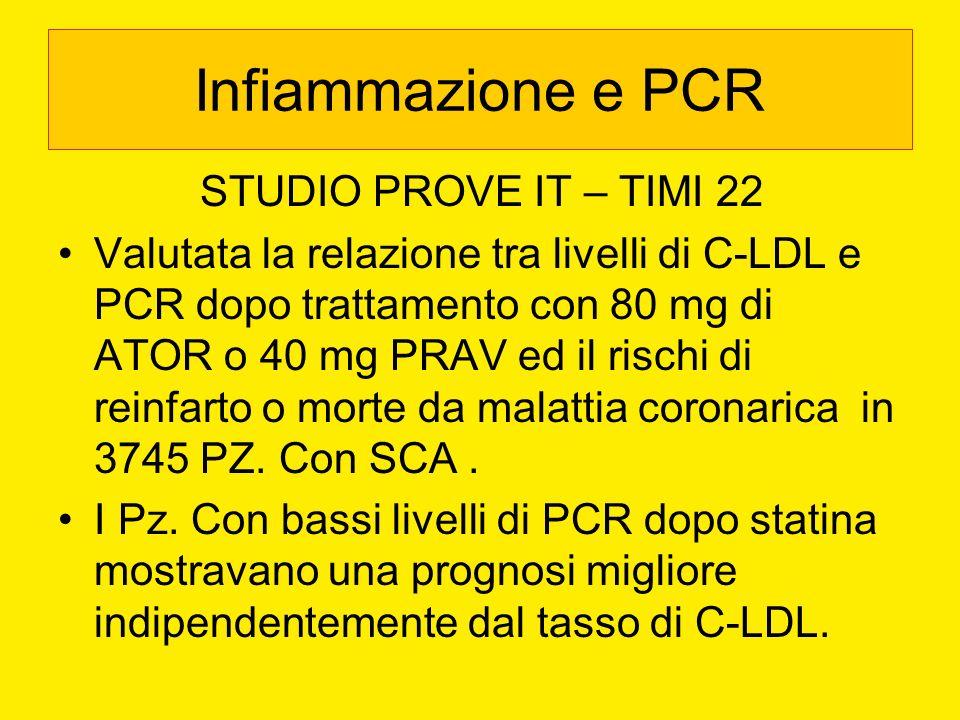 Infiammazione e PCR STUDIO PROVE IT – TIMI 22