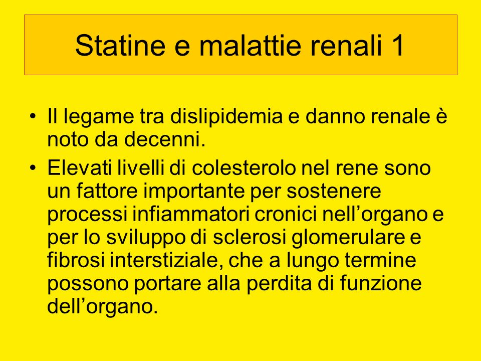 Statine e malattie renali 1