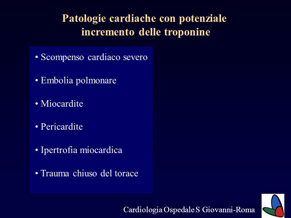 Patologie cardiache con potenziale incremento delle troponine