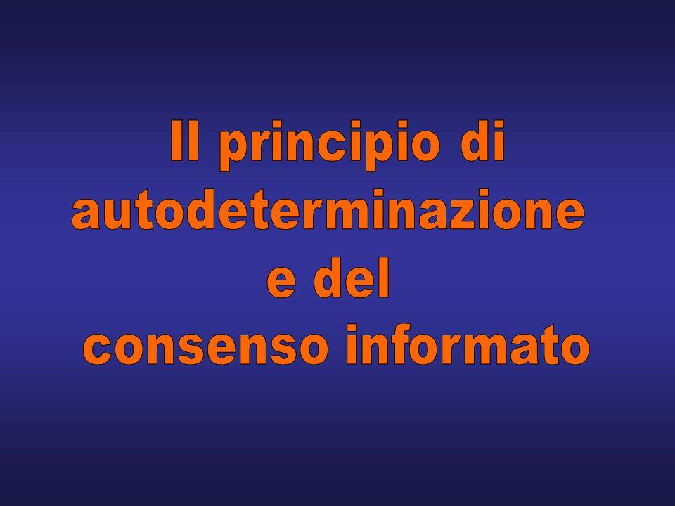Il principio di autodeterminazione e del consenso informato