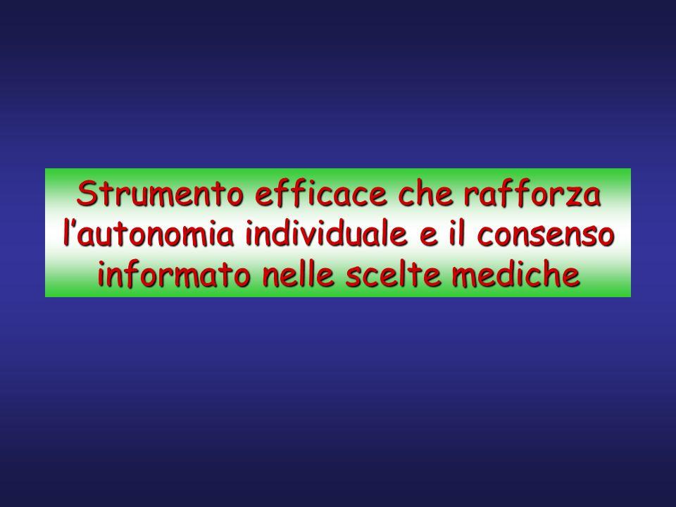 Strumento efficace che rafforza l'autonomia individuale e il consenso informato nelle scelte mediche