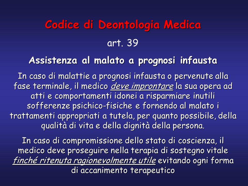 Codice di Deontologia Medica Assistenza al malato a prognosi infausta