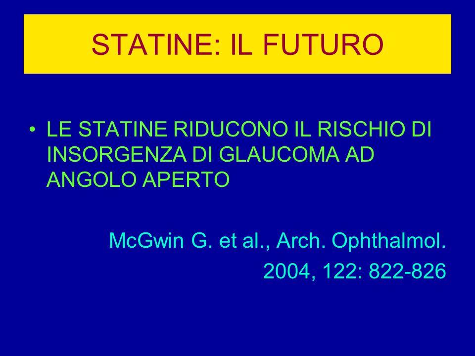 STATINE: IL FUTURO LE STATINE RIDUCONO IL RISCHIO DI INSORGENZA DI GLAUCOMA AD ANGOLO APERTO. McGwin G. et al., Arch. Ophthalmol.