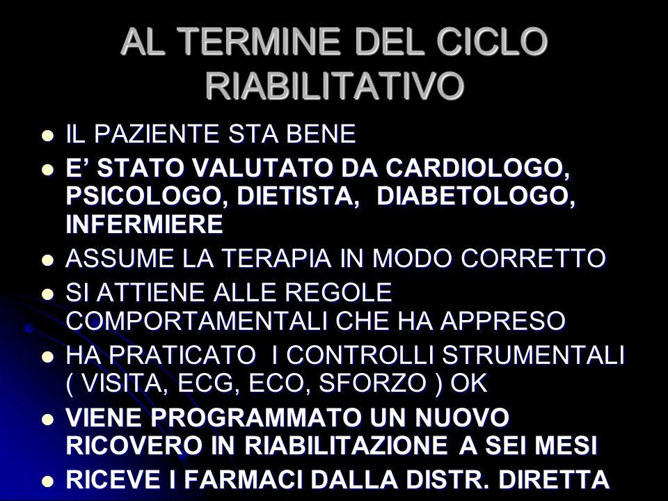 AL TERMINE DEL CICLO RIABILITATIVO