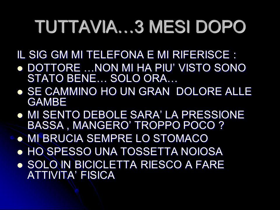 TUTTAVIA…3 MESI DOPO IL SIG GM MI TELEFONA E MI RIFERISCE :