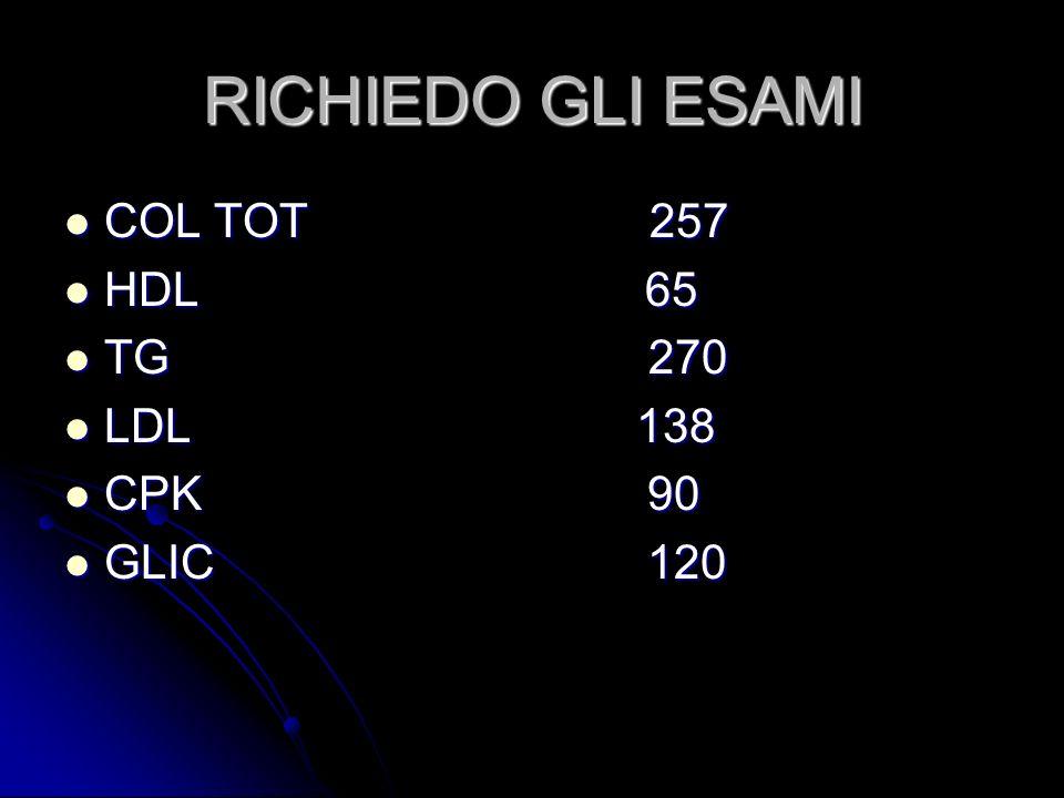 RICHIEDO GLI ESAMI COL TOT 257. HDL 65. TG 270.