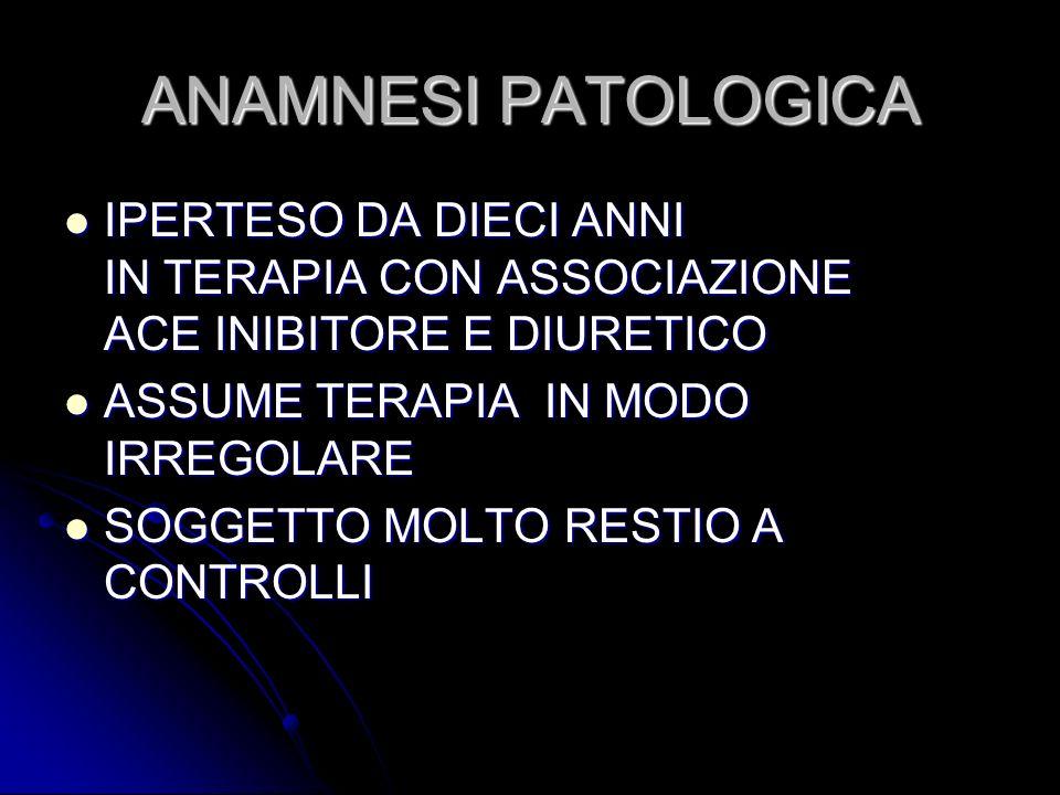 ANAMNESI PATOLOGICA IPERTESO DA DIECI ANNI IN TERAPIA CON ASSOCIAZIONE ACE INIBITORE E DIURETICO.