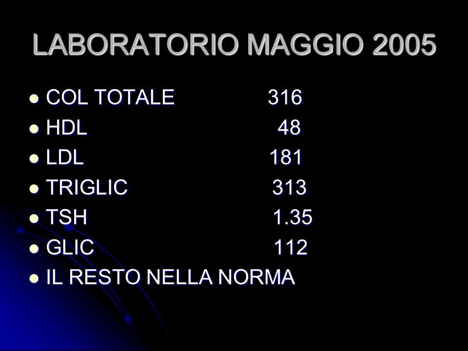 LABORATORIO MAGGIO 2005 COL TOTALE 316 HDL 48 LDL 181 TRIGLIC 313