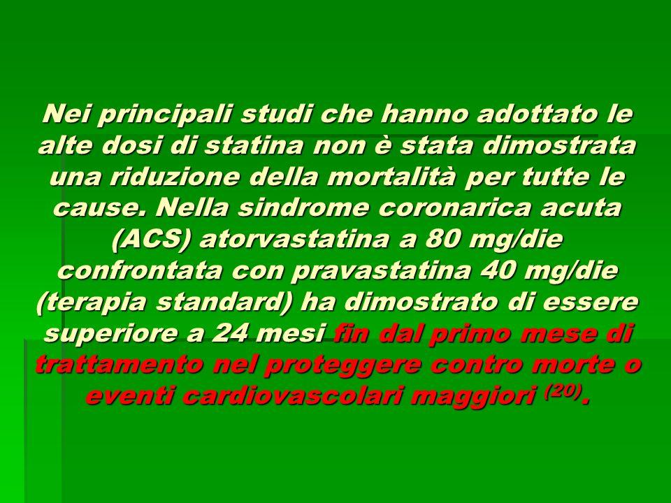 Nei principali studi che hanno adottato le alte dosi di statina non è stata dimostrata una riduzione della mortalità per tutte le cause.