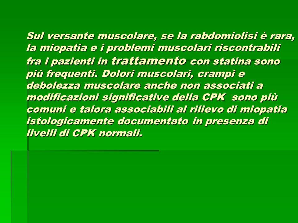 Sul versante muscolare, se la rabdomiolisi è rara, la miopatia e i problemi muscolari riscontrabili fra i pazienti in trattamento con statina sono più frequenti.