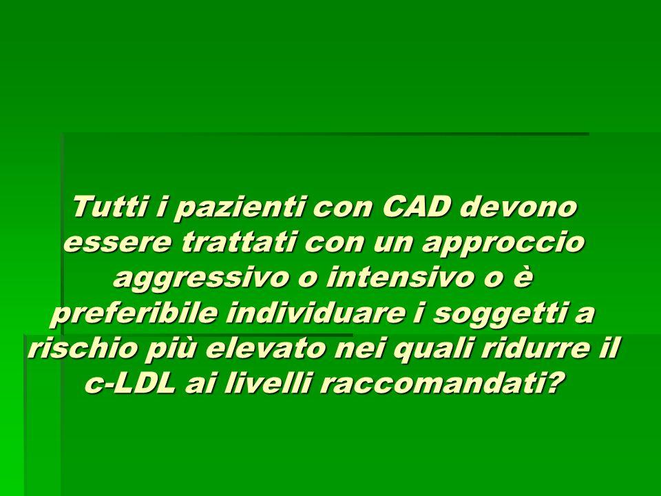 Tutti i pazienti con CAD devono essere trattati con un approccio aggressivo o intensivo o è preferibile individuare i soggetti a rischio più elevato nei quali ridurre il c-LDL ai livelli raccomandati