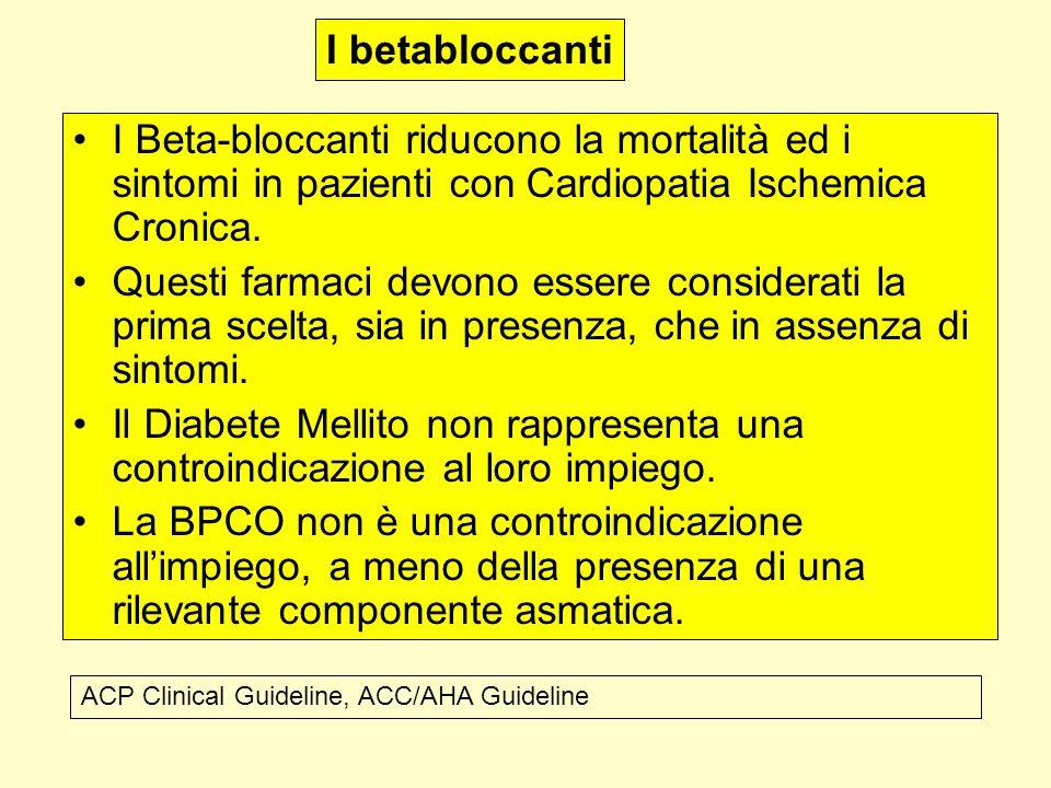 I betabloccanti I Beta-bloccanti riducono la mortalità ed i sintomi in pazienti con Cardiopatia Ischemica Cronica.