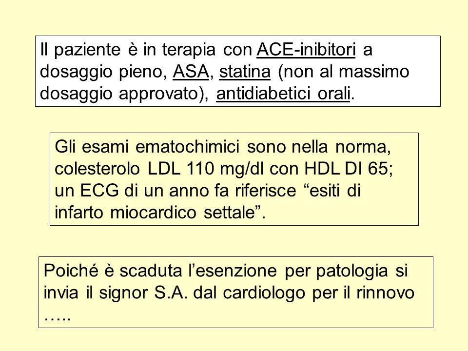 Il paziente è in terapia con ACE-inibitori a dosaggio pieno, ASA, statina (non al massimo dosaggio approvato), antidiabetici orali.