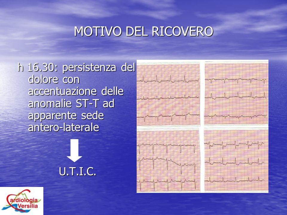 MOTIVO DEL RICOVERO h 16.30: persistenza del dolore con accentuazione delle anomalie ST-T ad apparente sede antero-laterale.