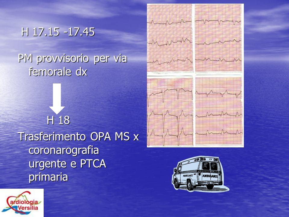 H 17.15 -17.45 PM provvisorio per via femorale dx.