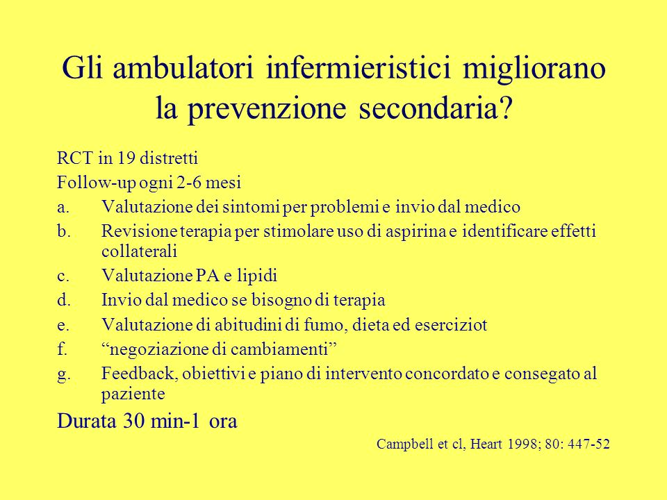 Gli ambulatori infermieristici migliorano la prevenzione secondaria