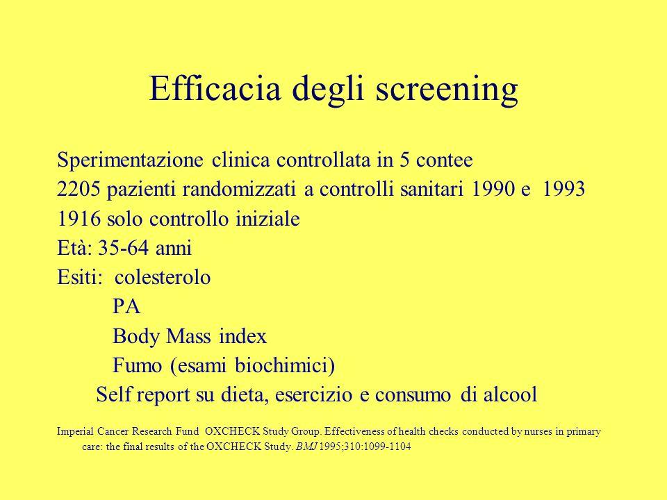 Efficacia degli screening