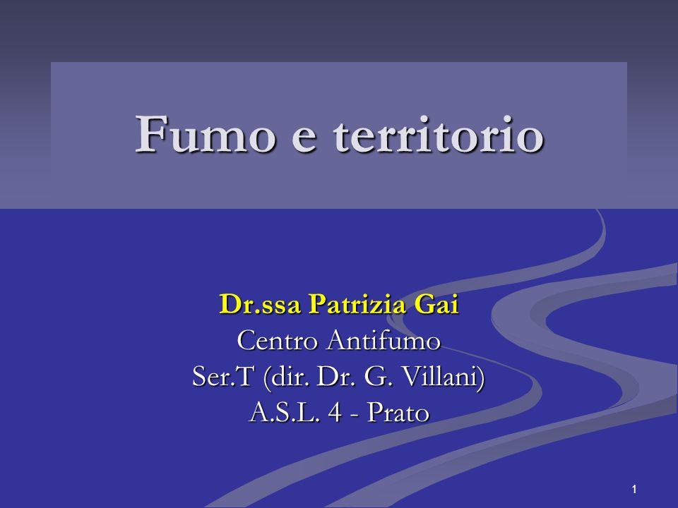 Fumo e territorio Dr.ssa Patrizia Gai Centro Antifumo