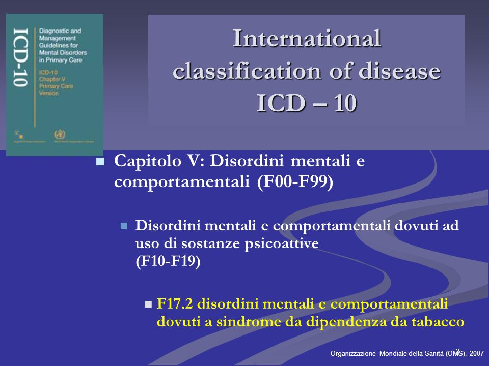 International classification of disease ICD – 10