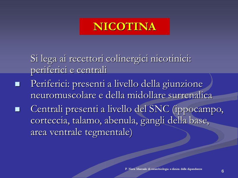 NICOTINA Si lega ai recettori colinergici nicotinici: periferici e centrali.